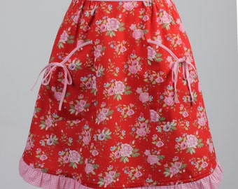On Sale Vintage Style apron/floral apron/Red apron