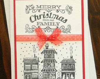 Handmade Hand Stamped Christmas Card, From our Family to Yours