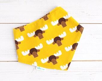 Yellow Bandana Bib - Organic Bamboo Dribble Bib  - Moose Bib- Baby Boy Gift  - Drool Bib - Baby Fashion - Baby Shower - Baby Bandana - UK