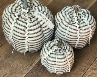 Pumpkins / Black Pumpkins / Ticking Stripe / Fabric Pumpkins / Set of 3