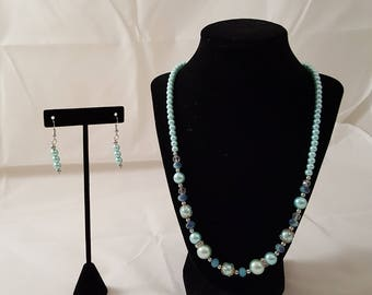 Blue Pearl & Crystal Bling Jewelry Set - Light Blue Pearl Jewelry Set - Blue Pearl Necklace - Blue Pearl Earrings - Pearl Bling Jewelry Set