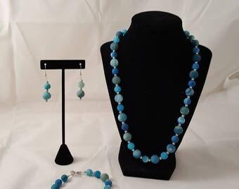 Blue Agate Round Stone Jewelry Set - Blue Jewelry Set - Blue Stone Necklace - Blue Stone Bracelet - Blue Stone Earrings - Blue Jewelry Set