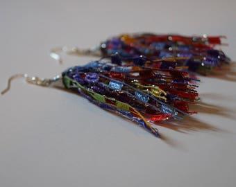 Rainbow Tassel Earrings, Ribbon Tassel Earrings, Ladder Yarn Earrings, Ribbon Earrings, Yarn Earrings, Fringe Earrings, Dangle Earrings