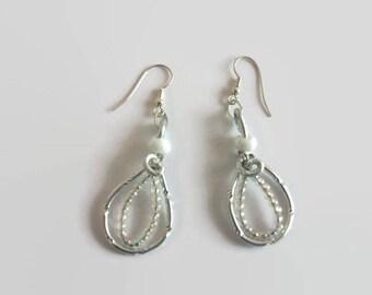 White coloured aluminum Wire Earrings