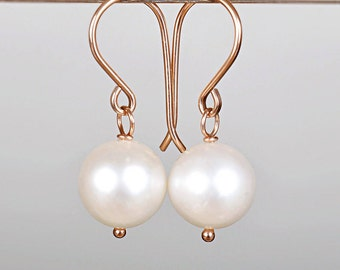 Pearl Dangle Earrings, White Freshwater Pearl Earrings, June Birthstone Leverback Pearl Drop Earrings, Sterling Silver, 14K Rose Gold Filled