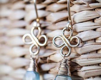 Moss Aquamarine Earrings, March Birthstone, Dangle Earrings, Gemstone Jewelry, Leverback Earrings /14K Rose Gold Filled Sterling Silver