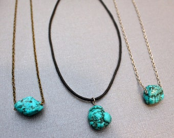 Raw turquoise necklace / turquoise chunk nugget necklace / turquoise pendant / healing chakra jewelry necklace