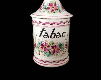 "vintage french apothecary jar ""tabac"""