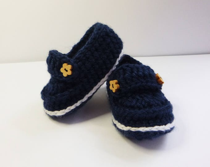 Babies Loafers, Handmade Crochet, Hand Crochet,  Babies Bootees, Navy and White, Boy or Girl, 3-6 Months, Gift Boxed