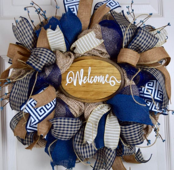 Welcome Navy Blue Beige Burlap and Mesh Wreath with Berries; Primitive Country Wreath; Classic Welcome Rustic Wreath; Wreath with Branches