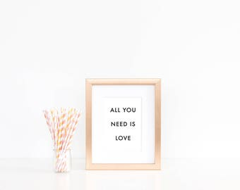 All You Need Poster - Motivational Quote Print Inspirational Saying Typographic Minimalist Digital Printable Black & White Text Design Art