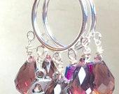 Crecent Moon and Star Crystal Earrings, purple small hoop earrings Czech crystal dangle earrings samhain goddess mauve earrings boho jewelry