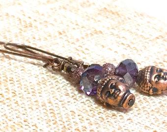 Copper Buddha Earrings, yoga purple earrings namaste bohemian jewelry boho chic earrings crystal dangle earrings spiritual zen earrings