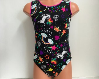 Unicorn Print Gymnastics or Dance Leotard - Sizes: Girls 2T, 3T, Girls 4 to 16, Adult XS to XL