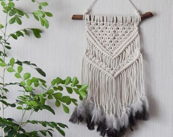 Boho Macrame Wall Hanging with Feathers, White Cotton Wall Hanging,