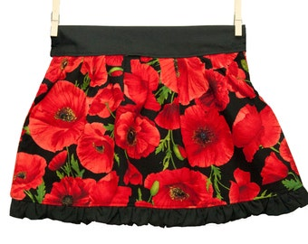 Children's red flower apron, hostess apron, floral apron, tea party apron, black and red flower apron