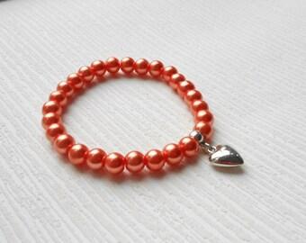 Handmade orange bracelet, orange glass pearl, choose you color, romantic heart jewelry great for wedding, party, bridesmaid, valentine