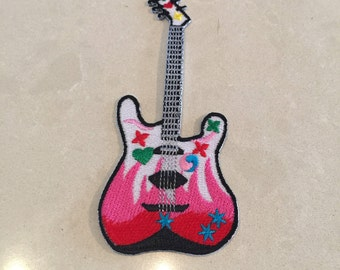 Pink electric guitar iron on patch
