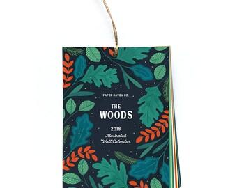 "2018 Calendar - Wall Calendar - ""The Woods"" Illustrated Calendar"