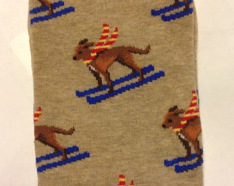 Art Socks, The Incredible Skiing Dogs,Men's Crew Socks,Awesome Dog Socks, Fun, Artsy, Gifts for Men