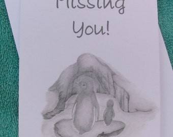 Missing You Card / Thinking of You Card / Penguin Thinking of You Card / Just Because Cards / Penguin Art