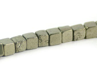 Pyrite Fool's Gold Stone Gemstone Cube Bead 6mm