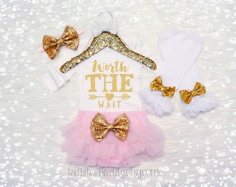 Worth The Wait Baby Girl Outfit. Pink and Gold. Newborn Outfit. Take Home Outfit. Coming Home Outfit. Optional Headband, Leg Warmer and Tutu