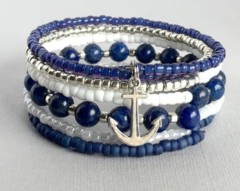 Nautical Stacked Bangle Bracelet, Anchor Charm Beaded Bangle, Nautical Jewelry, Statement Bracelet, Anchor Jewelry, BDD007