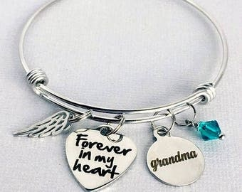GRANDMA Memorial Bracelet, Forever in my Heart, Memorial Charm Bangle, Loss of Grandmother, Remembrance Jewelry, In Memory of Grandma