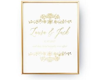 Names Custom Print, Wedding Wall Decor, Real Gold Foil Print, Wedding Signs, Wedding Decoration, Wedding Print, Gold Foil Sign Wedding