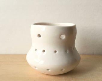 handmade luminary, porcelain luminary, votive candle holder, candle luminary, porcelain tea light holder, tea light luminary, unique gift