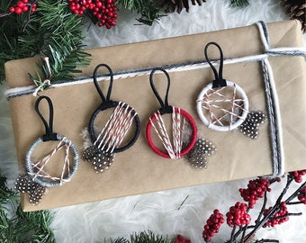 Boho Christmas Party Favors, Stocking Stuffer Idea, Dream Catcher Ornaments, Shatterproof Ornaments, Boho Christmas Tree, Small Dreamcatcher