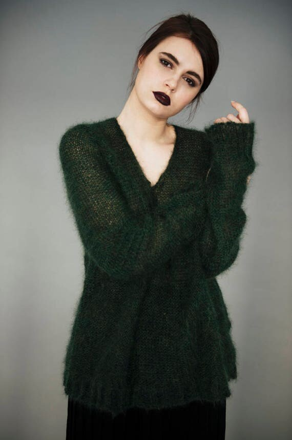 Mohair sweater Green sweater Mohair pullover Vintage mohair