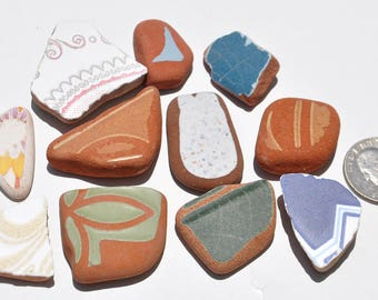 Spanish Sea Pottery Mix, Authentic Beach Finds, Collectible Beach Pottery, Beach Tiles, Patterned Sea Tiles