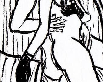 """""""Kink in Armchair"""" Nudle [Nude Doodle] #40 [0.8"""" x 2.3"""" on 5"""" x 7"""" stock]"""