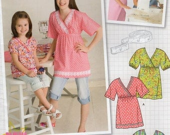 FREE US SHIP Sewing Pattern Simplicity 2437 Uncut Girls Learn to Sew East Kimono Tops Blouse High Waist Size 3 4 5 6 7 8 Uncut New