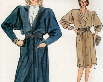 FREE US SHIP Vogue 9064 Vintage Retro 1980s 80s Coatdress Dress Blouse Very Easy Size 8 10 12 Uncut Sewing Pattern Pullover Bust 30 31 32