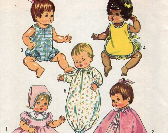 "Simplicity 5275 Vintage Retro 1970s 70s  Sewing Pattern Babydoll Doll Bunting Cape Dress Bonnet Romper Uncut FF Size 14"""