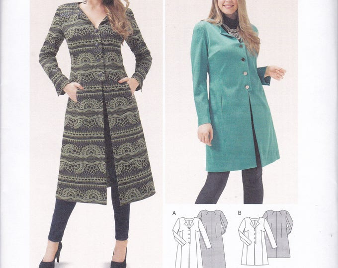 FREE US SHIP Burda 6715 Sewing Pattern Coat Duster Tab Button Size 18 20 22 24 26 28 30 32 34 Bust 40 42 44 46 48 50 52 54 56  plus uncut