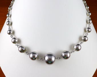 Sterling Silver Beaded Necklace, Vintage Graduated Sterling Silver Bead Necklace, 16 Inches Long, Sterling Beaded Necklace