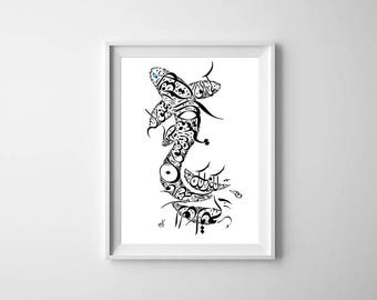 Arabic Calligraphy Fish Print - Mikhail Naimy Poetry