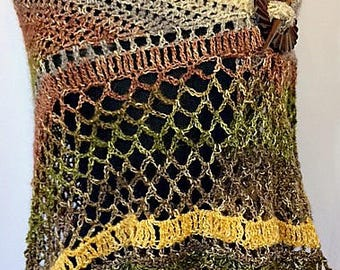 Crocheted Scarf, Crocheted Wrap, Crocheted Shawl, Ivory/Brown, Green & Gold colors, Wearable Art, Neutral Colored Wrap, GracefulEweFiberArts