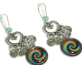 The Rainbow spiral sleeper earring