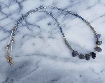 Kyanite and Labradorite Necklace, Wrap Bracelet, with Crystal Glass and Gold Filled