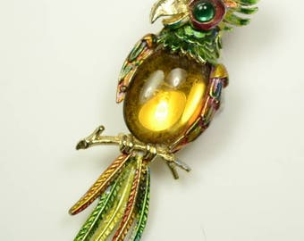 ART© Bejewelled Parrot Pin with Large Glass Cabochon