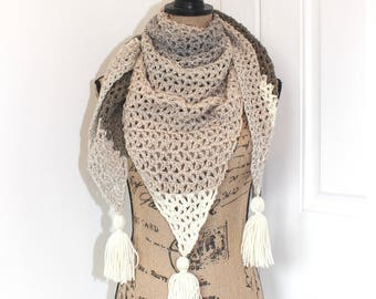 Handmade Crochet Triangular Shawl, Caron Cakes Yarn in Cookies & Cream