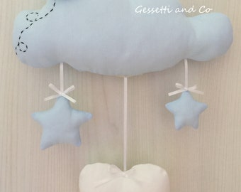 Birth Bow Blue Cloud with customizable name