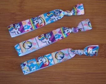 Unicorn Elastic Hair Ties, Unicorn Hair Ties, Unicorn Party Favors, Girls Hair Ties, Girls Party Favors, Unicorn Party Gift, Rainbow Unicorn