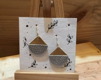 Gold and silver leather earrings