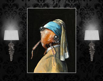 Custom poster, Girl with Pearl earring, Bedbug poster, surreal art, A3, A2, A1, custom size print, art print